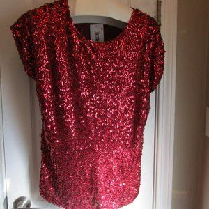 Pretty Guide Red Sequined Blouse Size Large